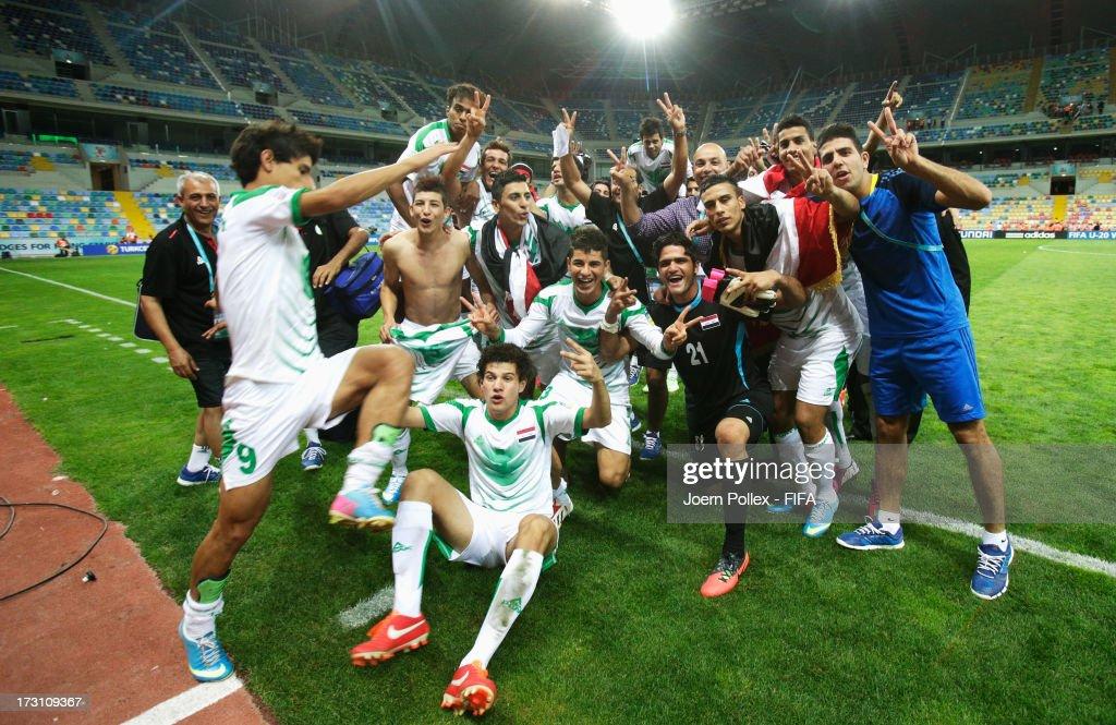 Player of Iraq celebrate after winning the FIFA U20 World Cup Quarter Final match between Iraq and Korea Republic at Kadir Has Stadium on July 7 2013...