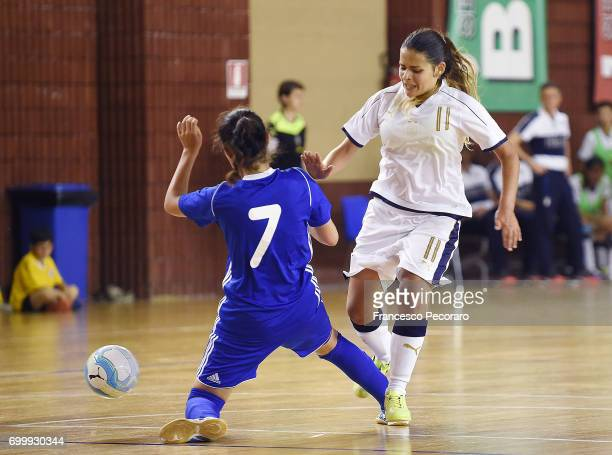 Player of Italy Giorgia Vianale vies with Kazakhstan player during the U17 Women Futsal Tournament match between Italy and Kazakhstan on June 22 2017...