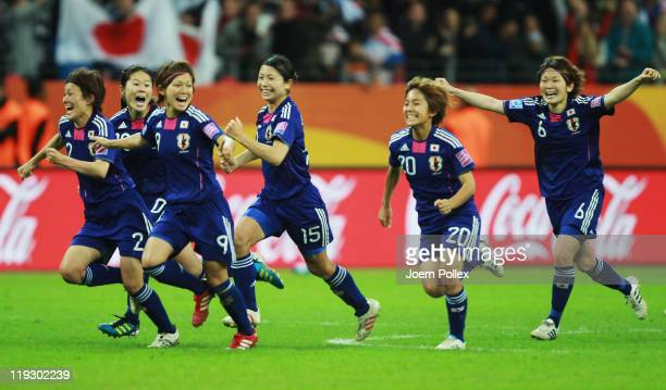 Player of Japan celebrate after winning the FIFA Women's World Cup Final match between Japan and USA at the FIFA World Cup stadium Frankfurt on July...
