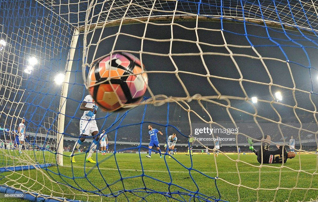 Player of Juventus FC Gonzalo Higuain scores the 1-2 goal during the TIM Cup match between SSC Napoli and Juventus FC at Stadio San Paolo on April 5, 2017 in Naples, Italy.
