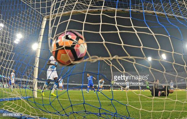 Player of Juventus FC Gonzalo Higuain scores the 12 goal during the TIM Cup match between SSC Napoli and Juventus FC at Stadio San Paolo on April 5...