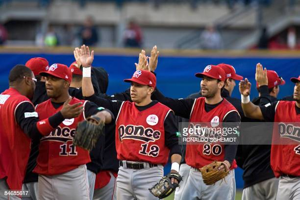 Player of Leones de Ponce of Puerto Rico celebrate their victory against Tigres de Aragua of Venezuela during the 2009 Baseball Caribbean Series on...