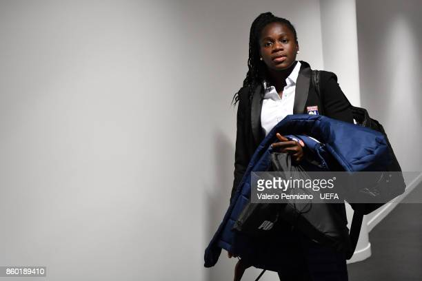 A player of Lyon arrives at her dressing room ahead the UEFA Women's Champions League Round of 32 Second Leg match between Lyon and Medyk Konin at...