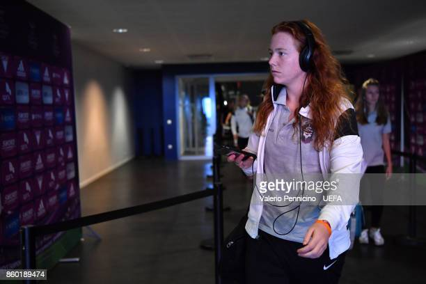 A player of Medyk Konin arrive at their dressing room ahead the UEFA Women's Champions League Round of 32 Second Leg match between Lyon and Medyk...