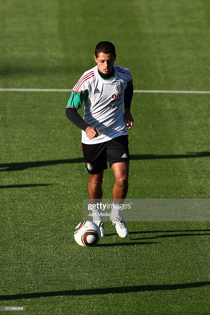 Player of Mexico national team Javier Hernandez during a training session as part of their preparation for FIFA 2010 World Cup at King Baudoin Stadium, on June 2, 2010 in Brussels, Belgium.