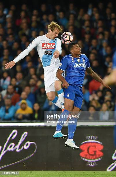 Player of Napoli Ivan Strinic vies with Juventus FC player Mario Lemina during the Serie A match between SSC Napoli and Juventus FC at Stadio San...