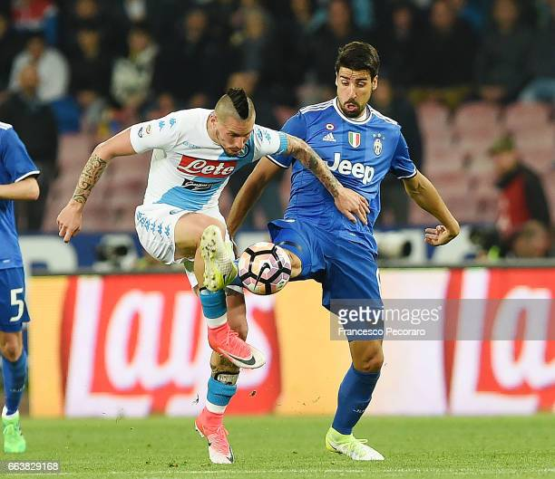 Player of Napoli Marek Hamsik vies with Juventus FC player Sami Khedira during the Serie A match between SSC Napoli and Juventus FC at Stadio San...