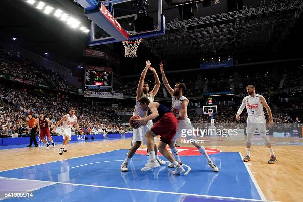 player of Real Madrid in action during the play off round 3 match between FC Barcelona Lassa and Real Madrid at Barclaycard Center in Madrid Spain on...