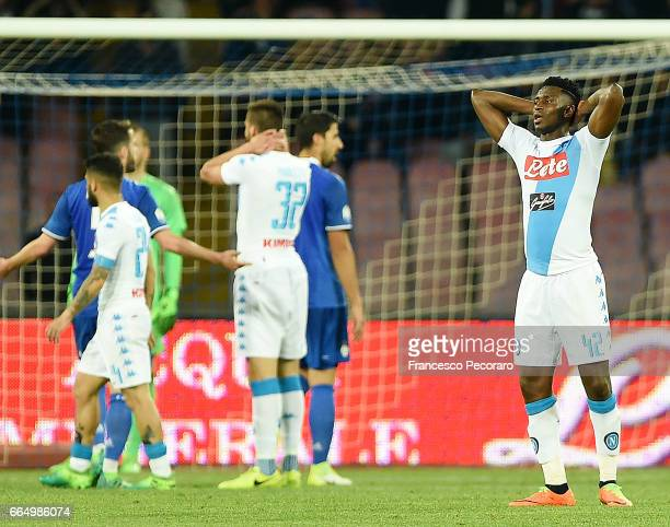 Player of SSC Napoli Amadou Diawara stands disappointed during the TIM Cup match between SSC Napoli and Juventus FC at Stadio San Paolo on April 5...