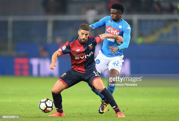 Player of SSC Napoli Amadou Diawara vies with Genoa CFC player Adel Taarabt during the Serie A match between Genoa CFC and SSC Napoli at Stadio Luigi...