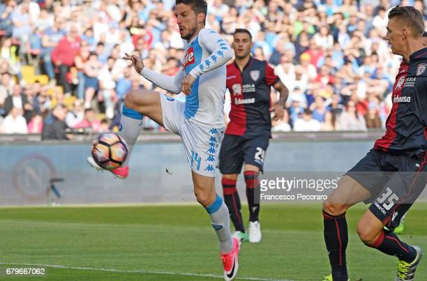 Player of SSC Napoli Dries Mertens scores the 10 goal during the Serie A match between SSC Napoli and Cagliari Calcio at Stadio San Paolo on May 6...