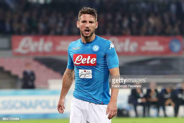 Player of SSC Napoli Dries Mertens stands disappointed during the Serie A match between SSC Napoli and FC Internazionale at Stadio San Paolo on...