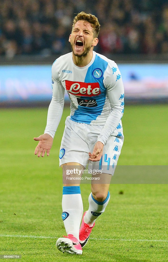Player of SSC Napoli Dries Mertens stands disappointed during the TIM Cup match between SSC Napoli and Juventus FC at Stadio San Paolo on April 5, 2017 in Naples, Italy.