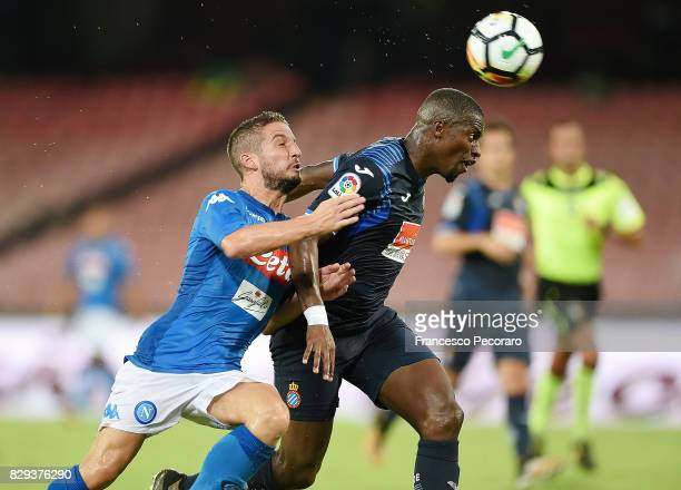 Player of SSC Napoli Dries Mertens vies with Espanyol player Papakouli Diop during the preseason friendly match between SSC Napoli and Espanyol at...