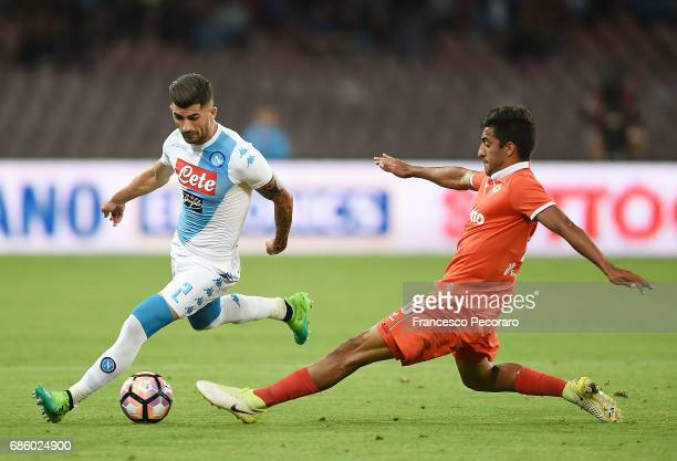 Player of SSC Napoli Elseid Hysaj vies with ACF Fiorentina player Maximiliano Olivera during the Serie A match between SSC Napoli and ACF Fiorentina...