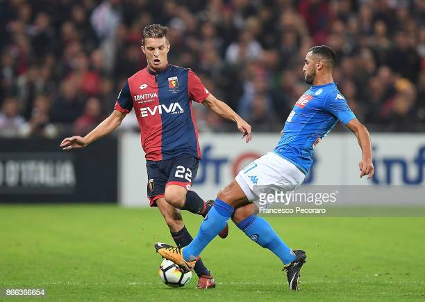 Player of SSC Napoli Faouzi Ghoulam vies with Genoa CFC player Darko Lazovic during the Serie A match between Genoa CFC and SSC Napoli at Stadio...