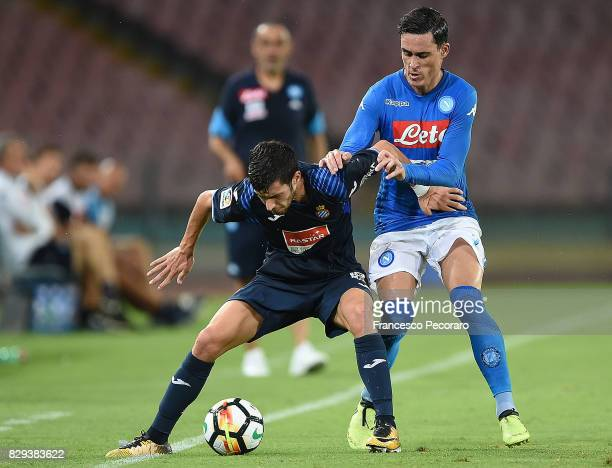 Player of SSC Napoli Jose Callejon vies with Espanyol player during the preseason friendly match between SSC Napoli and Espanyol at Stadio San Paolo...