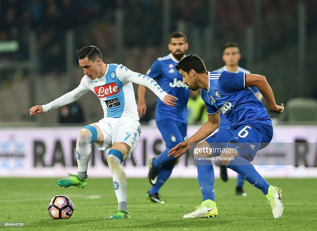Player of SSC Napoli Jose Callejon vies with Juventus FC player Sami Khedira during the TIM Cup match between SSC Napoli and Juventus FC at Stadio San Paolo on April 5, 2017 in Naples, Italy.