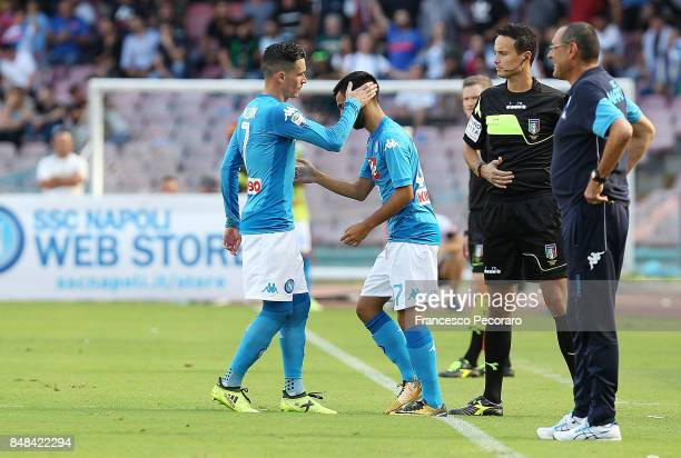 Player of SSC Napoli Jose Calleon greets Adam Ounas during the Serie A match between SSC Napoli and Benevento Calcio at Stadio San Paolo on September...