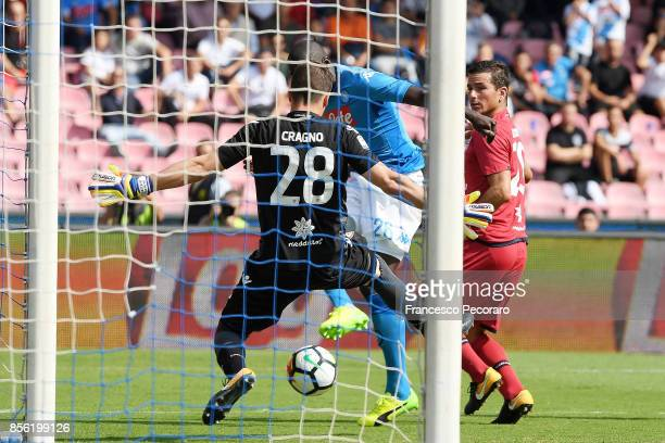 Player of SSC Napoli Kalidou Koulibaly scores the 30 goal during the Serie A match between SSC Napoli and Cagliari Calcio at Stadio San Paolo on...
