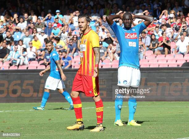Player of SSC Napoli Kalidou Koulibaly stands disappointed during the Serie A match between SSC Napoli and Benevento Calcio at Stadio San Paolo on...