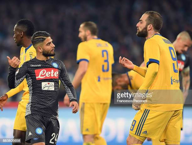 Player of SSC Napoli Lorenzo Insigne and Juventus player Gonzalo Higuain yelling at each other during the Serie A match between SSC Napoli and...