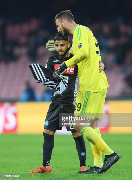 Player of SSC Napoli Lorenzo Insigne greets AC Milan player Gianluigi Donnarumma after the Serie A match between SSC Napoli and AC Milan at Stadio...
