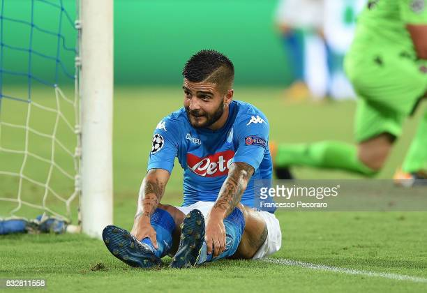 Player of SSC Napoli Lorenzo Insigne shows his disappointment during the UEFA Champions League Qualifying PlayOffs Round First Leg match between SSC...