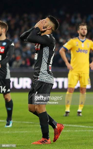 Player of SSC Napoli Lorenzo Insigne stands disappointed during the Serie A match between SSC Napoli and Juventus at Stadio San Paolo on December 1...