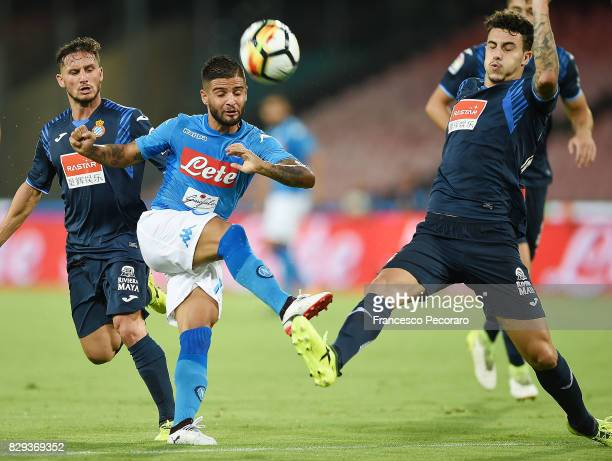 Player of SSC Napoli Lorenzo Insigne vies with Espanyol player during the preseason friendly match between SSC Napoli and Espanyol at Stadio San...