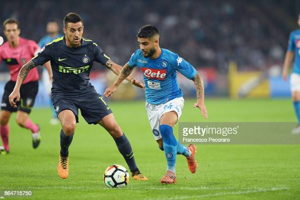 Player of SSC Napoli Lorenzo Insigne vies with FC Internazionale player Matias Vecino during the Serie A match between SSC Napoli and FC...