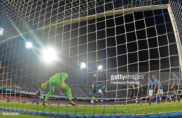 Player of SSC Napoli Raul Albiol scores the 20 goal during the preseason friendly match between SSC Napoli and Espanyol at Stadio San Paolo on August...