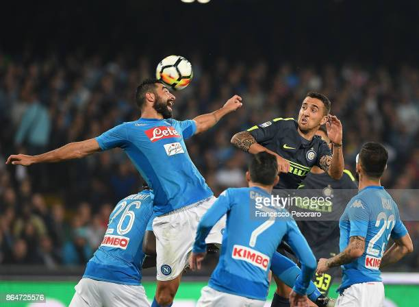 Player of SSC Napoli Raul Albiol vies with FC Internazionale player Matias Vecino during the Serie A match between SSC Napoli and FC Internazionale...