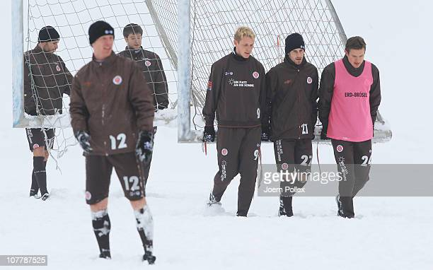 Player of St Pauli are seen during a training session on December 27 2010 in Hamburg Germany
