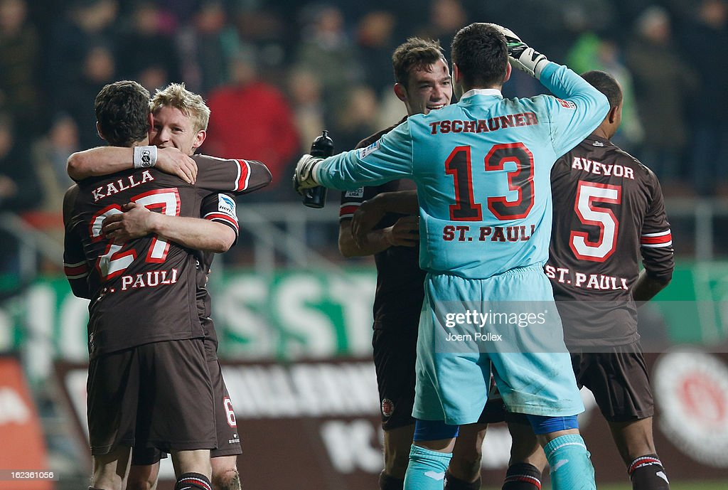 Player of St. Pauli celebrate after the Second Bundesliga match between 1. FC St. Pauli and FSV Frankfurt 1899 at Millerntor Stadium on February 22, 2013 in Hamburg, Germany.