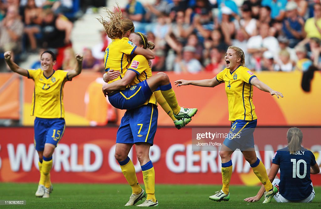 Player of Sweden celebrates after winning the FIFA Women's 3rd Place Playoff match between Sweden and France at Rhein-Neckar Arena on July 16, 2011 in Sinsheim, Germany.