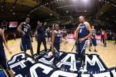 Player of the East Team Huddle during the NBA Cares Special Olympics Unified Sports Basketball Game at Sprint Arena during the 2014 NBA AllStar Jam...