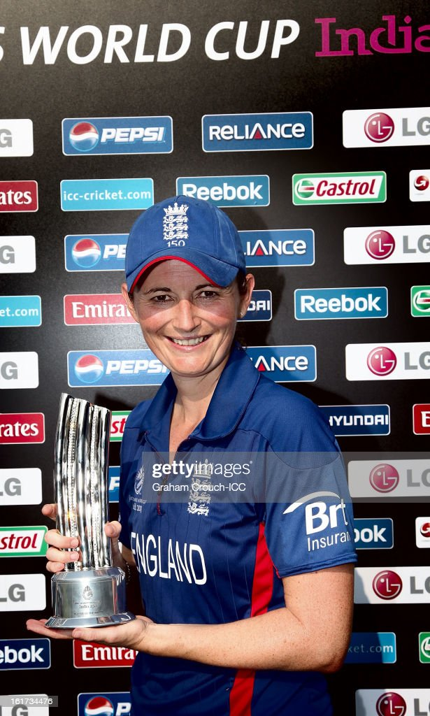Player of the Match <a gi-track='captionPersonalityLinkClicked' href=/galleries/search?phrase=Charlotte+Edwards&family=editorial&specificpeople=618915 ng-click='$event.stopPropagation()'>Charlotte Edwards</a> of England following Englands victory in the 3rd/4th Place Play-Off game between England and New Zealand at the Women's World Cup India 2013 at the Cricket Club of India ground on February 15, 2013 in Mumbai, India.