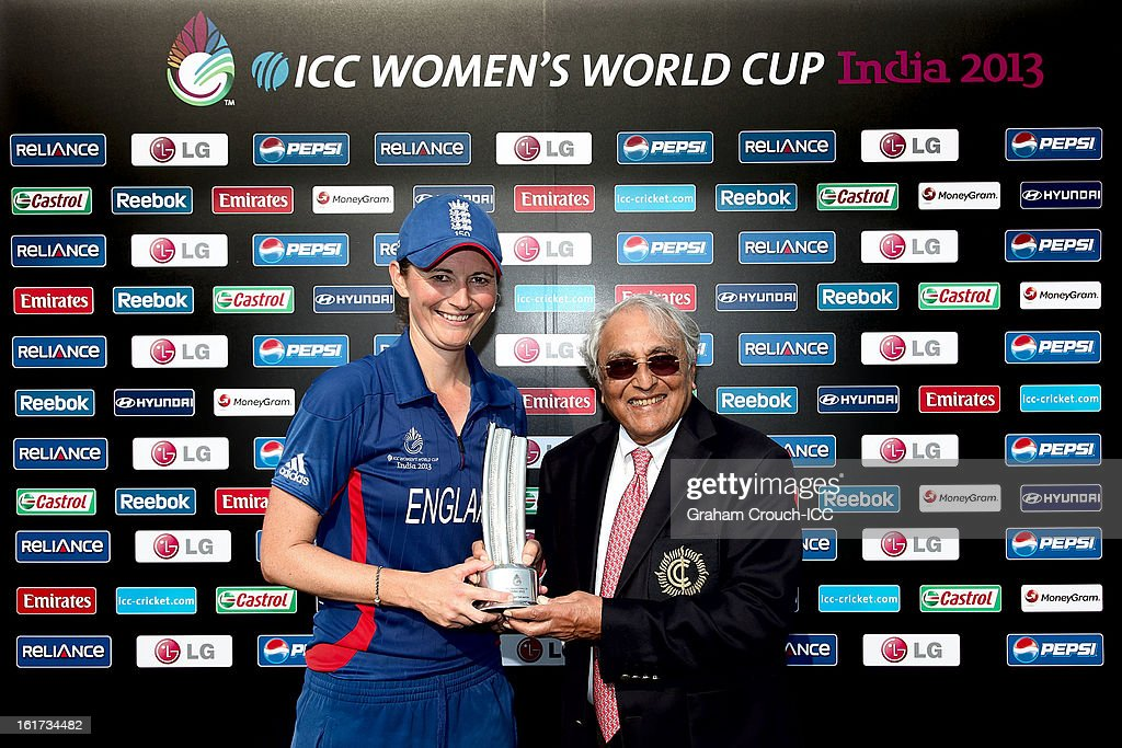 Player of the Match Charlotte Edwards of England with Sevantibhai Parekh, President of the CCI following Englands victory in the 3rd/4th Place Play-Off game between England and New Zealand at the Women's World Cup India 2013 at the Cricket Club of India ground on February 15, 2013 in Mumbai, India.