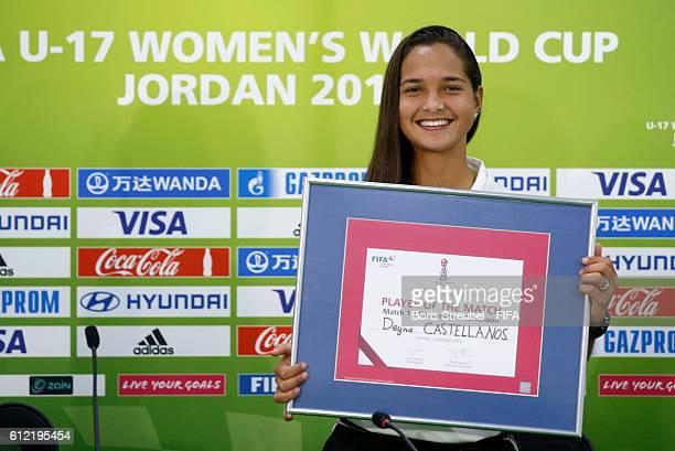 Player of the match Deyna Castellanos of Venezuela pose after the FIFA U17 Women's World Cup Group B match between Venezuela and Cameroon at Amman...