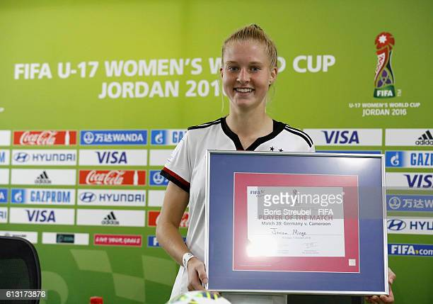 AZ ZARQA' JORDAN OCTOBER 07 Player of the match Janina Minge of Germany pose after the FIFA U17 Women's World Cup Group B match between Germany and...