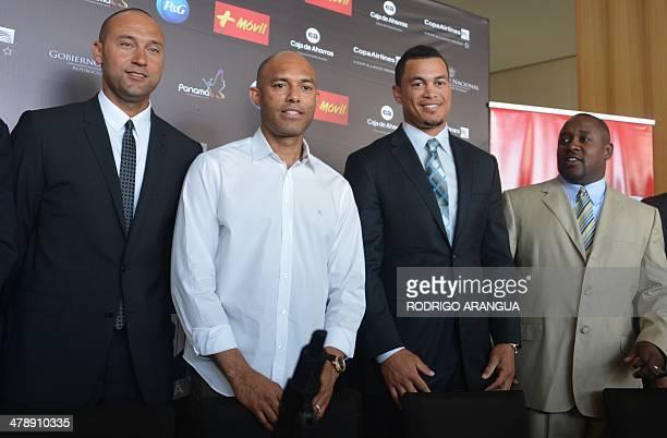 US player of the New York Yankees Derek Jeter Panamanian Mariano Rivera retired player of the New York Yankees Giancarlo Stanton of the Miami Marlins...