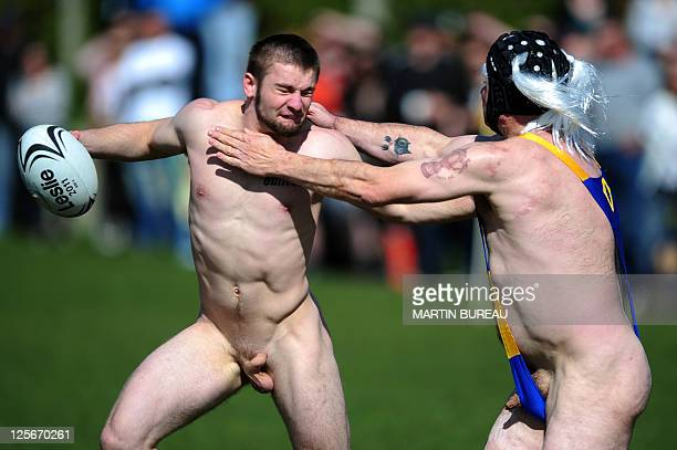 A player of The Nude Blacks of New Zealand is tackled by a player of Spanish Conquistadores a female team from Barcelona in Dunedin on September 10...