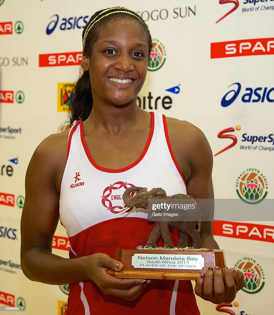 Player of the Series Sasha Corbin of England during the International SPAR Tri Nations netball final match between South Africa and England at Vodacom NMMU Indoor Stadium on October 25, 2013 in Port Elizabeth, South Africa.