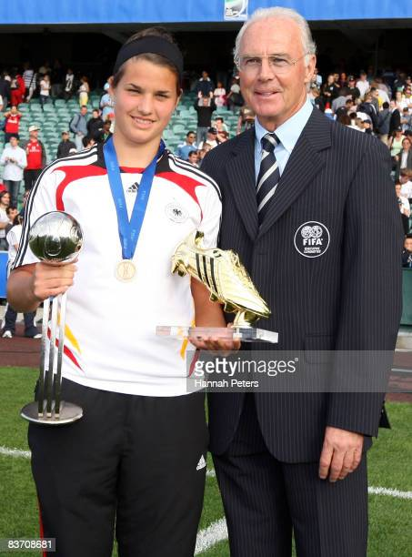 Player of the tournament Dzsenifer Marozsan poses with FIFA Ambassador Franz Beckenbauer after the FIFA U17 Women's World Cup Third and Fourth...