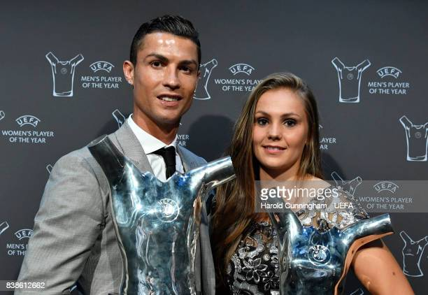 Player of the Year Award winner Christiano Ronaldo and UEFA Women's Player of the Year Award winner Lieke Martens with their awards following the...