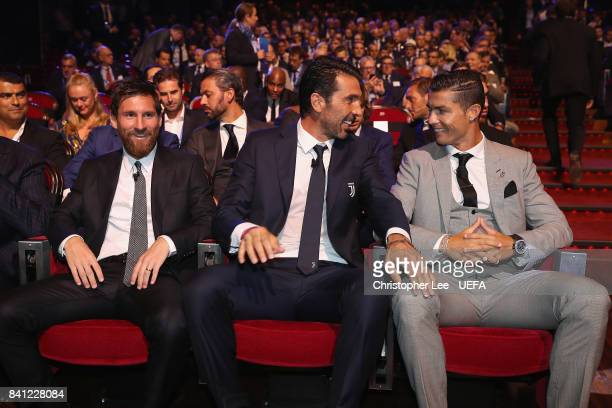 Player of the Year Nominee's Lionel Messi of Barcelona Gianluigi Buffon of Juventus and Cristiano Ronaldo of Real Madrid during the UEFA ECF Season...