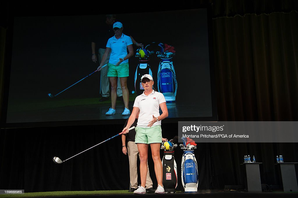 Player of the Year Stacy Lewis speaks at the 'Coaches & Relationships: Combining the Elements for a Championship Performance' lecture during the 13th PGA Teaching and Coaching Summit held at the Orange County Convention Center on January 22, 2013 in Orlando, Florida.