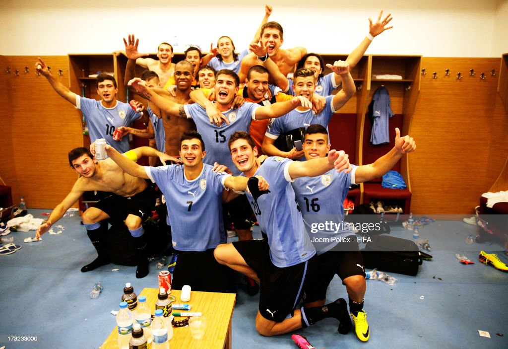 Player of Uruguay celebrate in the dressing room after winning the FIFA U-20 World Cup Semi Final match between Iraq and Uruguay at Huseyin Avni Aker Stadium on July 10, 2013 in Trabzon, Turkey.