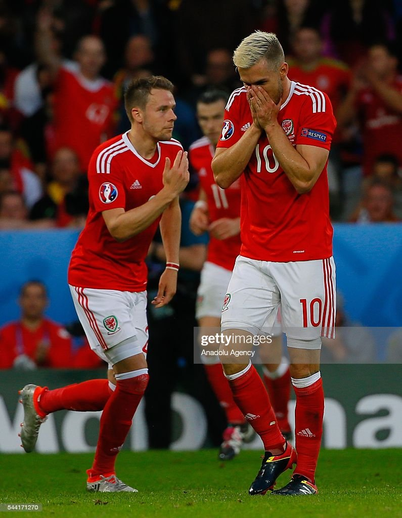 Player of Wales celebrate after scoring a goal during the Euro 2016 quarter-final football match between Wales and Belgium at the Stadium Pierre Mauroy in Lille, France on July 1, 2016.